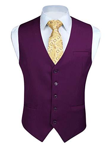 HISDERN Men's Suit Vest Business Formal Dress Waistcoat Vest with 3 Pockets for Suit or Tuxedo Purple
