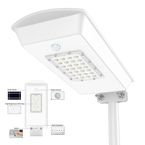 TENKOO Solar Street Lights Outdoor IP65 Motion Sensor Led Parking Lot Lighting Dusk to Dawn Commercial Area Flood Light for Stadium Yard Garage Garden (Cool White)…