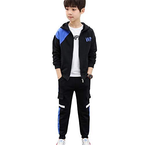 L PATTERN Kinder Jungen 3tlg Jogginganzug Trainingsanzug Sportanzug Freizeitanzug Outfit-Set Bekleidungsset Zweiteiler(Sweatshirt+Sweathose+T-Shirt), Blau, 134-140