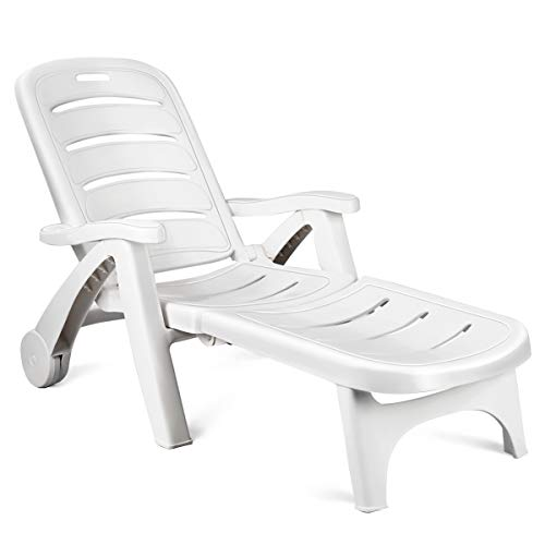 Safstar Folding Chaise Lounge Chair w/Wheels, Back Adjustable Rolling Lounger for Poolside Patio Backyard Deck Beach