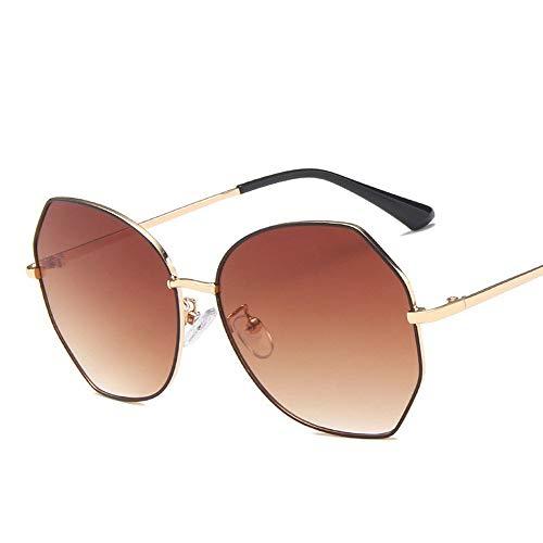 Sonnenbrille, New Netto-rot Sonnenbrille, modische Trendige Polygon Gläser, polarisierte in dünnen weibliche Sonnenbrille (Color : Tea Gradient Tea)