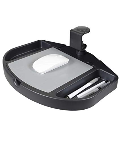 Clamp On 360 Degrees Swivel Out Mouse Tray with Storage for Desks and Tables Up to 1.5' Thick