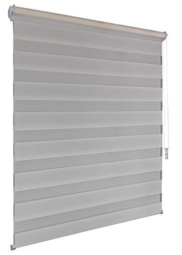 Doppelrollo 130x160cm beige Klemmfix ohne Bohren Vario Seitenzug Duorollo Zebrarollo Fenster