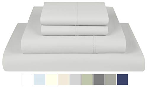 800 Thread Count 100% Extra-Long Staple Cotton Solid Sheet Set, King Sheets, Luxury Bedding- Best Seller Super Sale, King 4 Piece Sheet Set , Smooth Sateen Weave,Silver, by Threadmill Home Linen