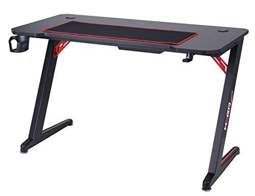 MIIGA Gaming Tisch Schreibtisch mit Konsolen-Halterung Getränkehalter Kopfhörerhalterung Kabelhalter 1.2 m lang und 60 cm breit Wasserabweisende Carbon-Tischplatte