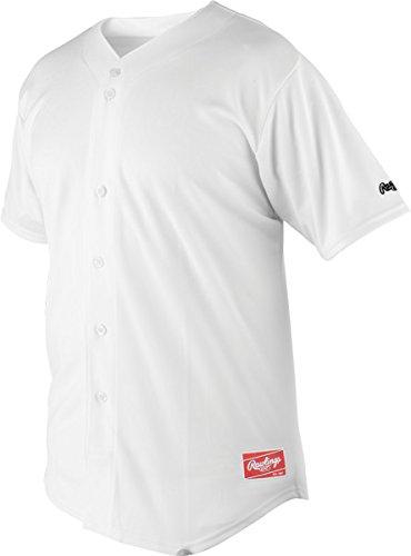 Rawlings Men's Premium Full Button RJ140 Jersey, White, 52