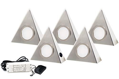 5er Set LED Dreieckleuchte Unterbauleuchte Küchenleuchte Edelstahl 3W 3000K 12V/ 230V Warmweiß mit Zentralschalter