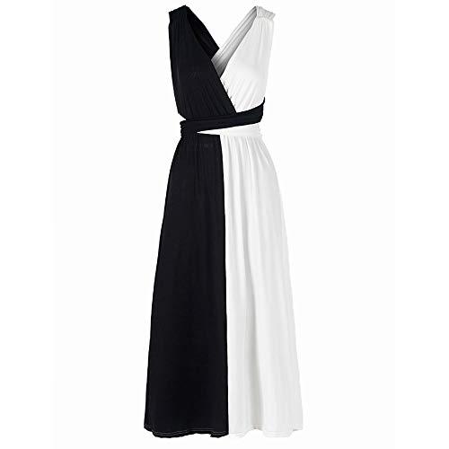 Verano Blanco Y Negro Costura Vestido De Pecho Sexy con Espalda Abierta Y Gran Swing