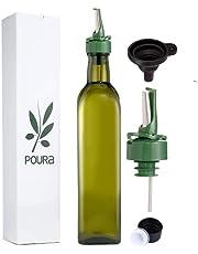 Aceitera Antigoteo con Boquilla Poura – Aceitera de Cristal con Tapón para que el Aceite de Oliva Se Mantenga Fresco y No Se Oxide – Botella de Aceite con Embudo