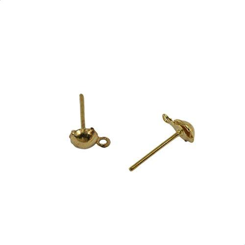F Fityle Pendientes de Botón Sueltos de 100 Piezas con Hebilla Y Bola DIY 12x6mm Resultados de Poste de Oreja - Luz de Oro, Individual