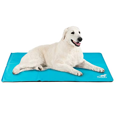 Toozey Kühlmatte für Hunde Katzen Selbstkühlend - Druckaktivierte Gel Hund Kühldecke, Kein Wasser oder Kühlschrank Benötigt, Kratzfest/Wasserdicht/rutschfest Kühlmatte für Hunde, Blau, XL (122*70cm)