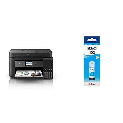 Epson EcoTank ET-4750 4800 x 1200DPI Inyección de Tinta A4 33ppm WiFi Impresora multifunción + 102 Cian Cartucho de Tinta Cartucho de Tinta para impresoras
