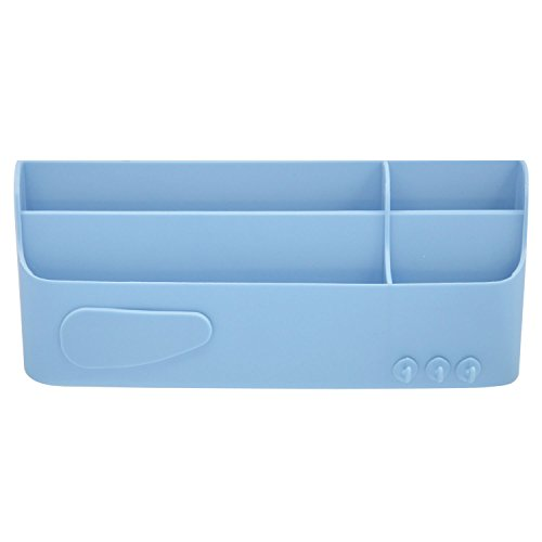 Self-adhesive Wall Mount Storage Rack Cosmetics Toiletries Sundries Holder Organizer with Small Hooks for Home Office Hotel Bedroom Bathroom Kitchen Living Room Blue