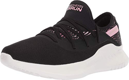 Skechers Go Run Mojo 2.0 - Escape Sneaker Damen, Schwarz (Black Textile/Pink Trim Bkpk), 40 EU