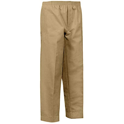 Benefit Wear Mens Full Elastic Waist Pull-On Pants with Mock Fly (S, Khaki)