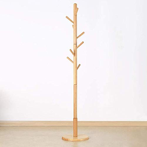 ZXL Meubelgarderobe, hoedengarderobestandaard, 8 haken, draaibare garderobestandaard, kleerhanger, halfronde parapluhouder, kantoor-entree, 36 x 36 x 180 cm (kleur: bruin)