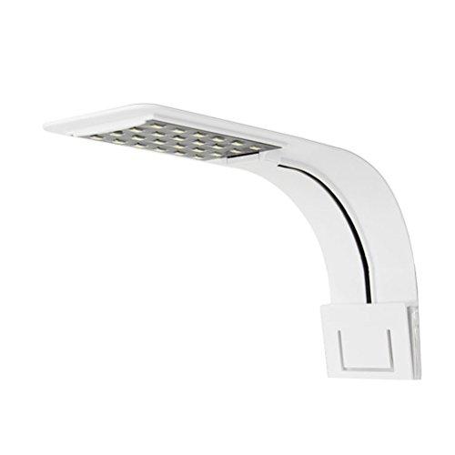 UEETEK Lampe LED Aquarium Ultra-Fin Lampe à Clip pour Aquarium pour Plante (Blanc, Lumière Blanche)