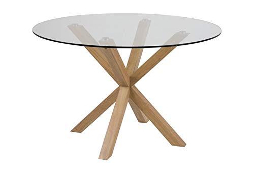 Mesa de comedor redonda de cristal Heaven de 120 cm, base de aluminio de roble
