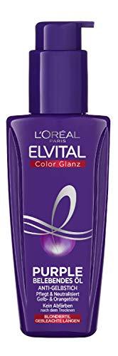 L'Oréal Paris Elvital Haaröl für blondes, gesträhntes, graues Haar, Neutralisiert Gelbtöne, Color Glanz Purple Belebendes Öl gegen Gelbstich, 1 x 100 ml