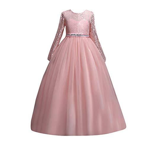 Riou Weihnachtskleid Mädchen Prinzessin Spitzenkleid Lang Weihnachten Kinder Baby Tutu Mini Ballkleider Abendkleid Elegant für Hochzeit Party Outfits Kleidung (160, Rosa)