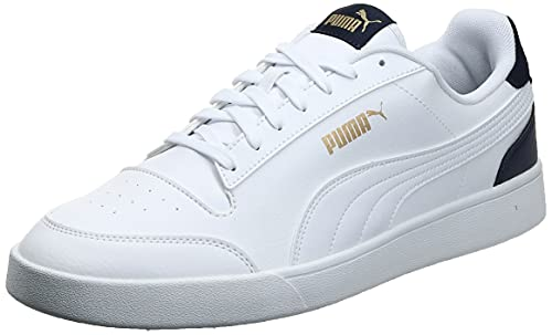 PUMA Shuffle, Scarpe da Ginnastica Unisex-Adulto, Bianco White-Peacoat Team Gold, 43 EU