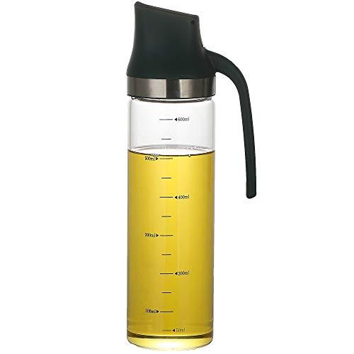 Bugucat Ölflasche 600ML, Premium Essig/Öl Spender aus Edelstahl und Glas, Olivenöl Behälter Öl Glasflasche mit Automatische Düse für BBQ, Kochen, Grillen, Pasta, Auslaufsicher und Spülmaschinenfest