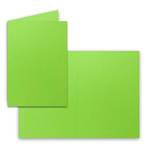 DIN A5 Faltkarten - Hellgrün - 50 Stück - Einladungskarten - Menükarten - Kirchenheft - Blanko - 14,8 x 21 cm - Marke FarbenFroh by Gustav Neuser