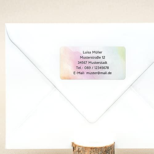 sendmoments Etiketten für Absender, Adresssticker Pastell, 81 Aufkleber rechteckig 50 x 25 mm, selbstklebend, personalisiert mit Namen und Adresse, Absenderetiketten für Postsendungen mit Design