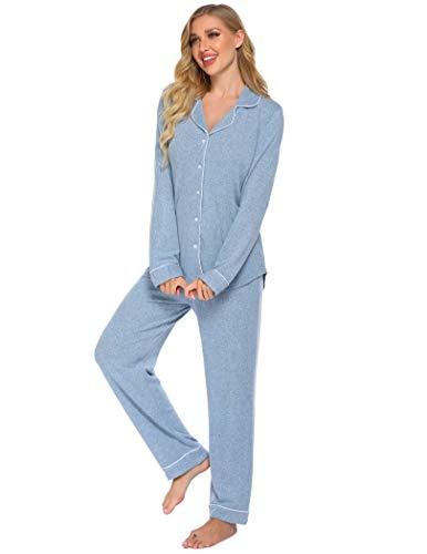 Schlafanzug Damen Lang Set Pyjama Baumwolle Zweiteilige Nachtwäsche Langarm Weich Lounge Sets mit Knopfleiste fur Winter