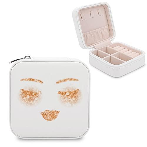 Boîte à bijoux en cuivre doré pour maquillage, lèvres, cils, yeux - Petite boîte à bijoux - Pour bagues, boucles d'oreilles, colliers - En cuir synthétique - Pour femmes et filles