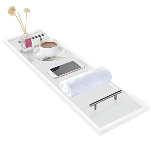 of bath caddies ToiletTree Frosted Acrylic Bathtub Caddy with Rust-Proof Stainless Steel Handles