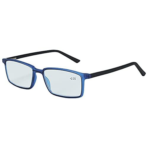 ZENOTTIC Lesebrillen, blå ljusblockerande strålar, lätt klassisk trendig stilfull för män och kvinnor (2,25, blå)