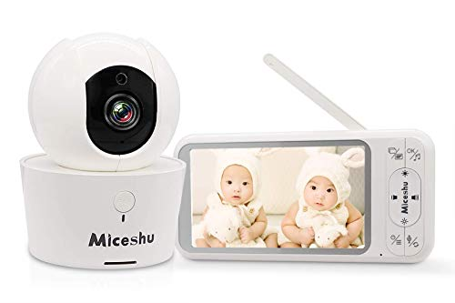 Miceshu Baby Monitor with Camera and Audio, 5' 1080P Monitor, Digital 2.4Ghz Security Wireless Camera, 960ft Transmission Range, 2-Way Talk, Night Vision, for Baby/Pet/Dog/Nanny