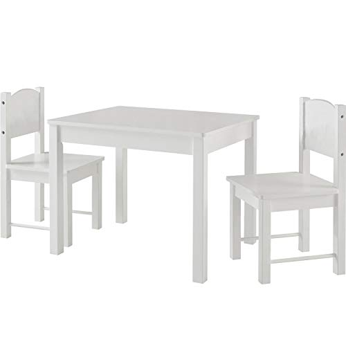 Timy Wooden Kids Table and 2 Chairs Set, Great for Playing, Learning, Eating