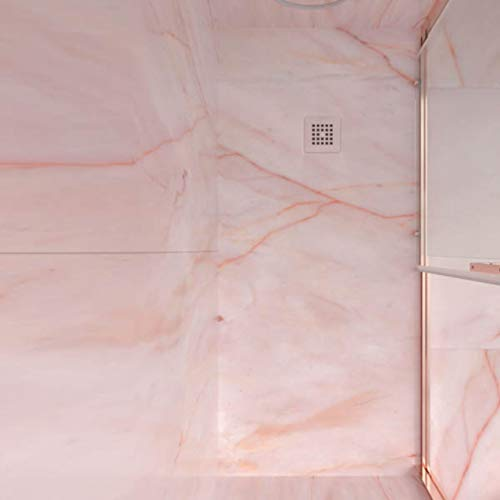 Plato de Ducha de Resina Mineral - Efecto Mármol Mate - Antideslizante y Antibacteriano - Incluye Sifón y Rejilla (80x120 cm, Rosa Portugués)