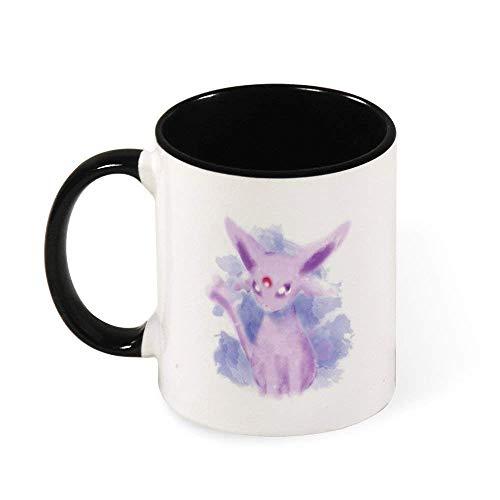 Jupsero Monstruo del bolsillo Espeon estilo acuarela taza de café de cerámica taza de té regalo para mujeres niñas esposa mamá abuela 11 oz