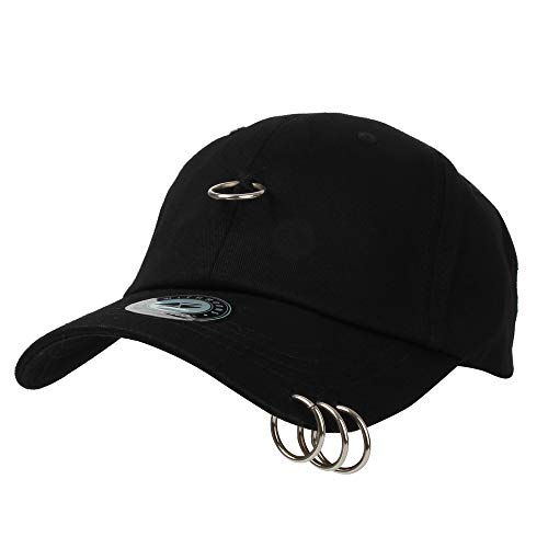 WITHMOONS Baseball Cap BTS Iron Ring Pierced K-Pop Hip Hop Hat TR11145 (Black)