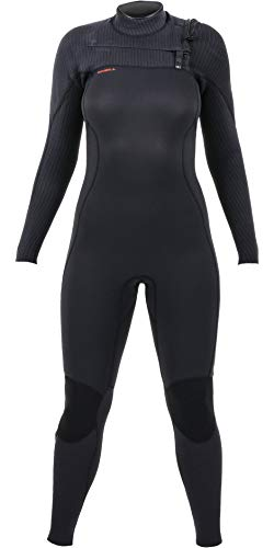 O';Neill Dames Hyperfreak 3/2+mm Chest Zip wetsuit zwart - Chest Zip entry over een 360 barrière met afvoer gaten