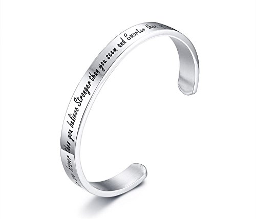 Stainless Steel'You are braver than you believe Stronger than you seem and Smarter than you think' Cuff Bangle