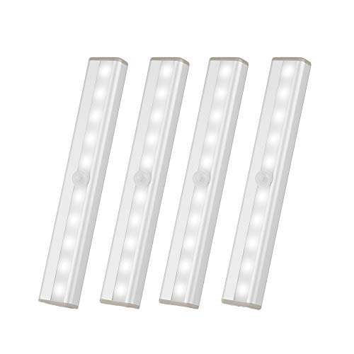 Portable 10 LED Battery Operated Under Cabinet Lighting,Stick On Anywhere Lights Magnetic Wireless Motion Sensor Night Light for Stair Wardrobe Closet Cupboard,1 Extra Magnetic Strip,White, 4 Pack