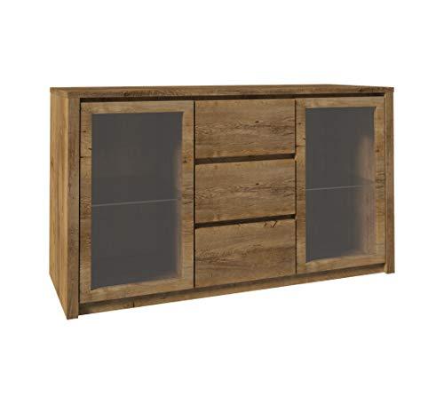 Furniture24 Kommode Sideboard Montana K2D mit 2 Türen und 3 Schubladen (Lefkas Eiche dunkel)