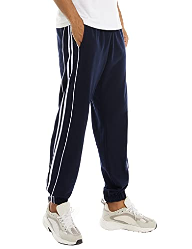 NC Pantaloni Tuta Uomo Cotone Pantaloni Tuta Uomo da Jogging Pantalone Sportivo con Strisce ai Lati Sport Pants Corsa Comodo e Leggero