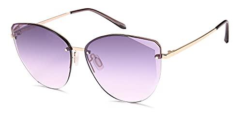 styleBREAKER Cateye 09020123 - Gafas de sol con corte de diamante, sin marco con cristales tintados, marco de metal, color Amarillo, talla Einheitsgröße