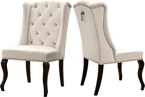 Meridian Furniture Suri Collection Modern | Contemporary Velvet Upholstered Dining Chair, Wood Legs, Luxurious Button Tufting, Nailhead Trim, Set of 2, 23