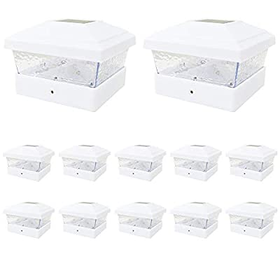 12 Pack White Outdoor Garden 5 x 5 Solar LED Post Deck Cap Square Fence Light Hammered Lens Landscape Lamp PVC Vinyl
