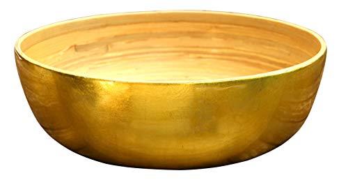 SimSimTrend große Schüssel aus Bambus metallic Hochglanzlack XXL Schale 31 cm Durchmesser, Gold Außenlack