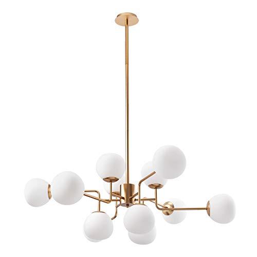 Lustre Suspension 12 lampes, style Moderne, Art Deco, armature en Métal couleur or, Abat-jours en verre blanc, pour la Chambre, ampoules non incluses E14 12x 40W 220V