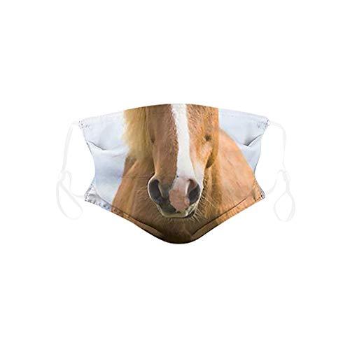 Kinder Mundschutz mit Motiv Hund Tiger Löwe Pferd Tiermotiv Cartoon 3D Lustig Mund und Nasenschutz Waschbar Wiederverwendbar Jungen Mädchen Gesichtsschutz Multifunktionstuch Bandana Halstuch (2)