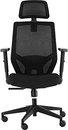Ergonomic Office Chair, Mesh Chair with Lumbar Support, Tribesigns High Back Desk Chair with Breathable Mesh, Thick Seat Cushion, Adjustable Armrest, Backrest and Headrest