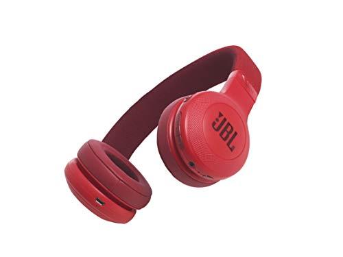 JBL E45BT - Auriculares supraaurales inalámbricos plegables, incluye cable de tela con mando universal de 1 botón, con micrófono integrado, rojo